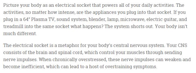 overtraining cns analogy